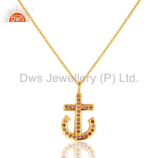18K Gold Plated Sterling Silver Amethyst Gemstone Anchor Sign Pendant With Chain