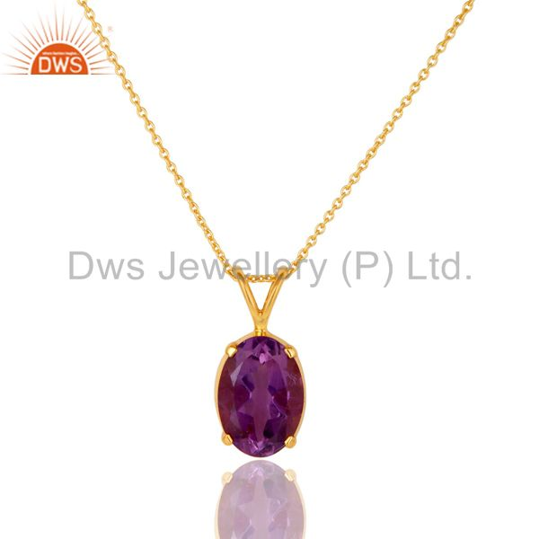 Natural Amethyst 18K Gold Plated Sterling SIlver Prong Set Pendant Necklace
