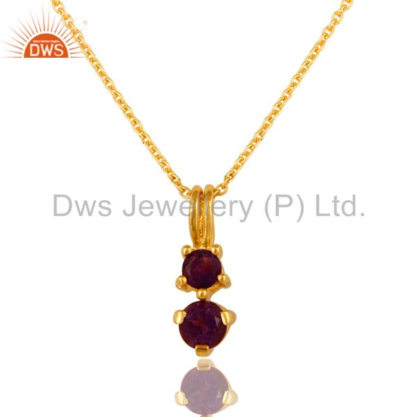 18K Gold Over Sterling Silver Amethyst Gemstone Pendant With 16
