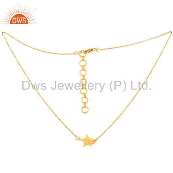 Designer 14K Gold Plated Sterling Silver Star Charm Chain Necklace Jewelry
