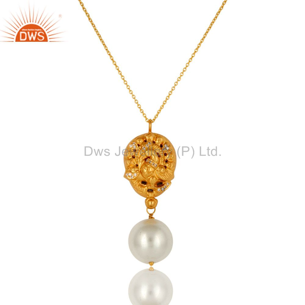 18K Yellow Gold Plated Sterling Silver Pearl And CZ Peacock Pendant With Chain
