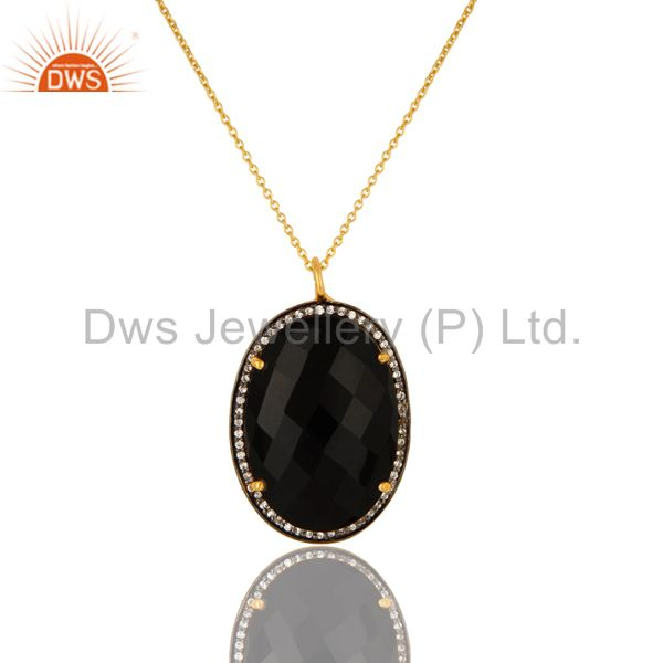 "14k yellow gold plated sterling silver cz and black onyx pendant with 16"" chain"