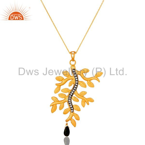 22K Gold Plated Sterling Silver Multi Tourmaline And CZ Leaf Pendant With Chain