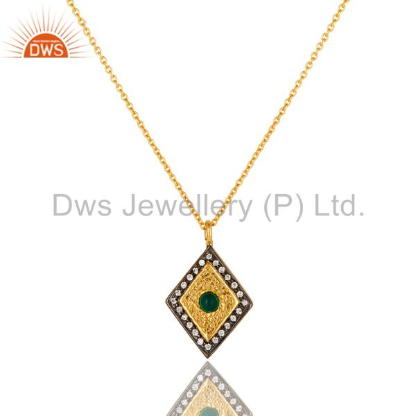 14K Gold Plated Sterling Silver Green Onyx And CZ Fashion Pendant With Chain
