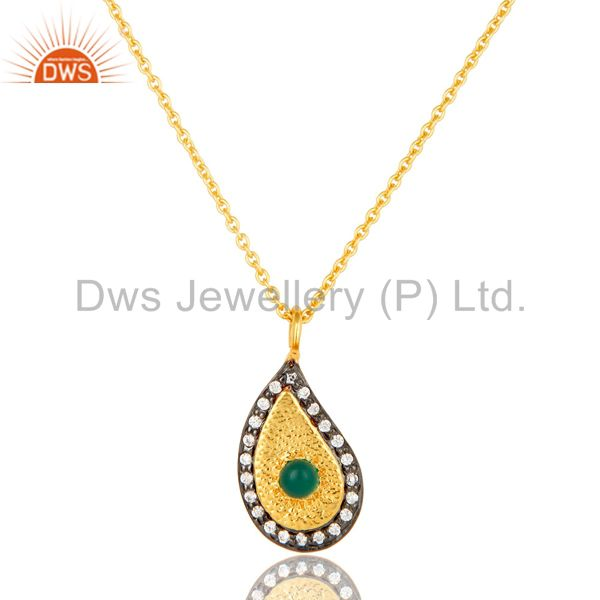 14K Gold Plated Sterling Silver Green Onyx And CZ Teardrop Pendant With Chain