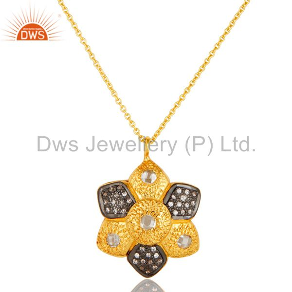 14K Yellow Gold Plated Sterling Silver Cubic Zirconia Flower Pendant With Chain
