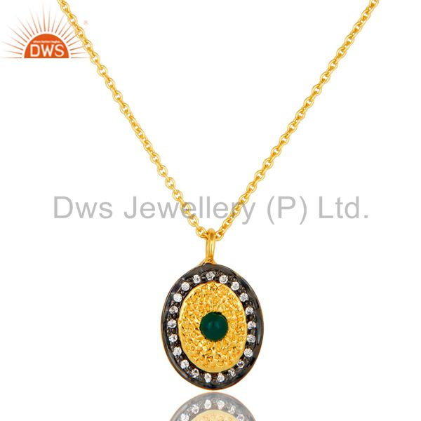 14K Yellow Gold Plated Sterling Silver Green Onyx & CZ Halo Pendant With Chain