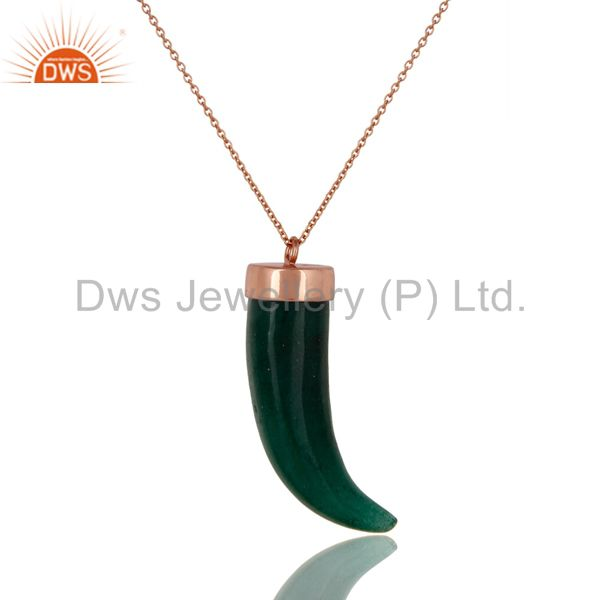 18K Rose Gold Plated Sterling Silver Green Aventurine Horn Pendant Necklace