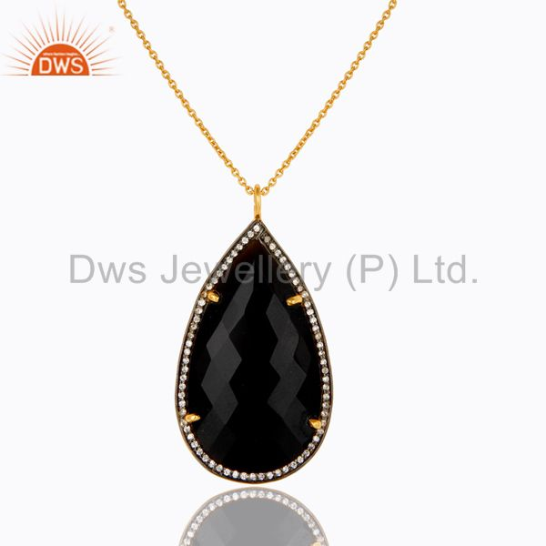 22k yellow gold plated sterling silver black onyx and cz drop pendant with chain
