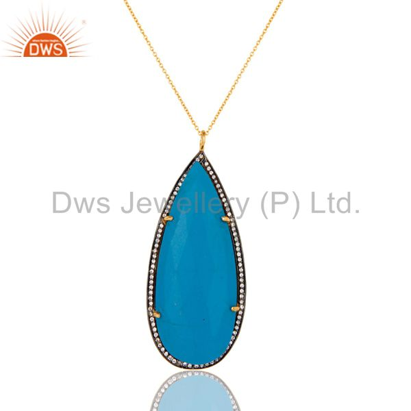 18K Gold Plated Sterling Silver and Turquoise Cultured Prong Set Pendant