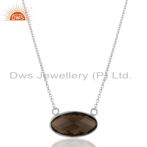 Smoky topaz vintage sterling silver white rhodium plated pendants and necklace