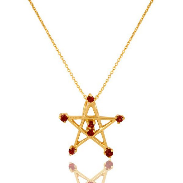 22k gold plated 925 sterling silver round cut star design garnet chain pendant