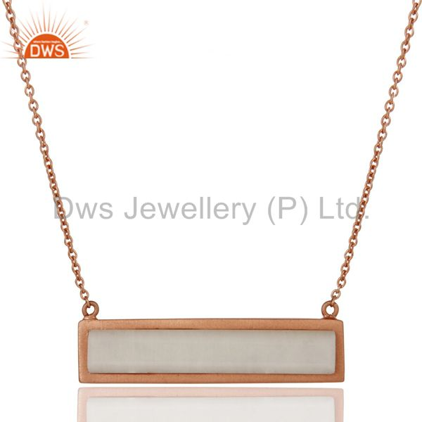 Rose Gold Plated Flat Cut White Agate Sterling Silver Necklace