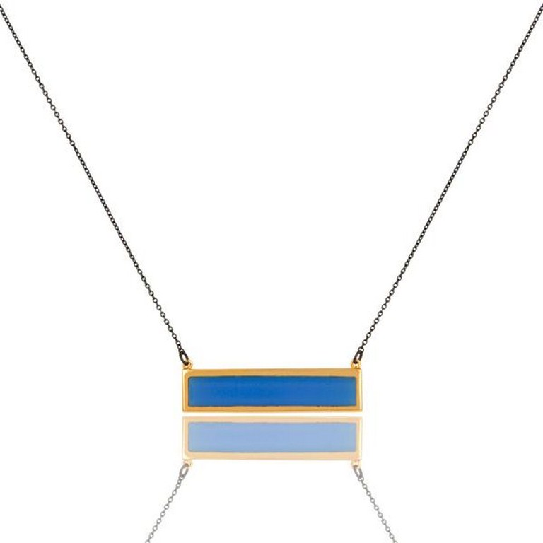 18K Gold Plated & Oxidized Sterling Silver Chalcedony Chain Pendant Necklace