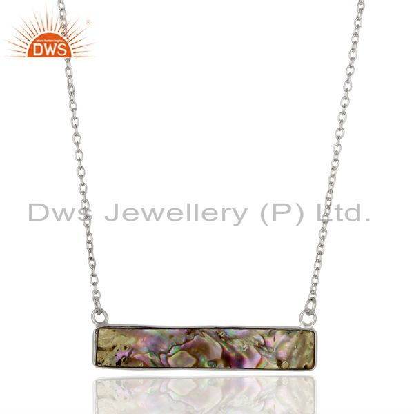 Abalone Shell Rectangle Sterling Silver Pendant & Necklace Wholesale Jewellery