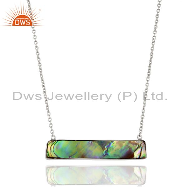 Abalone Shell Rectangle Sterling Silver Pendant And Necklace Gemstone Jewelry
