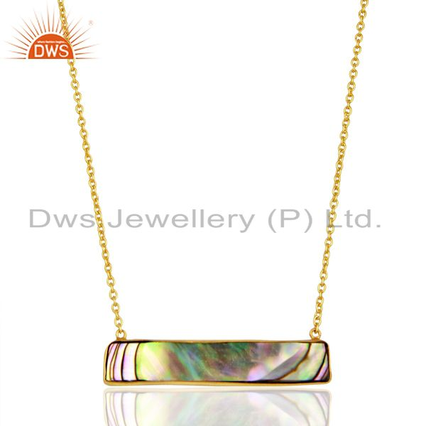 Abalone Shell Rectangle 92.5 Sterling Silver 14K Gold Plated Pendant & Necklace