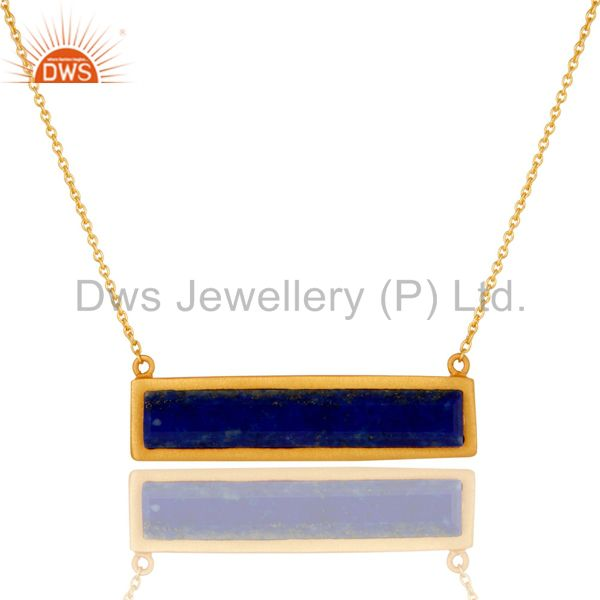 Yellow Gold Plated Flat Cut Lapis Lazuli Sterling Silver Necklace