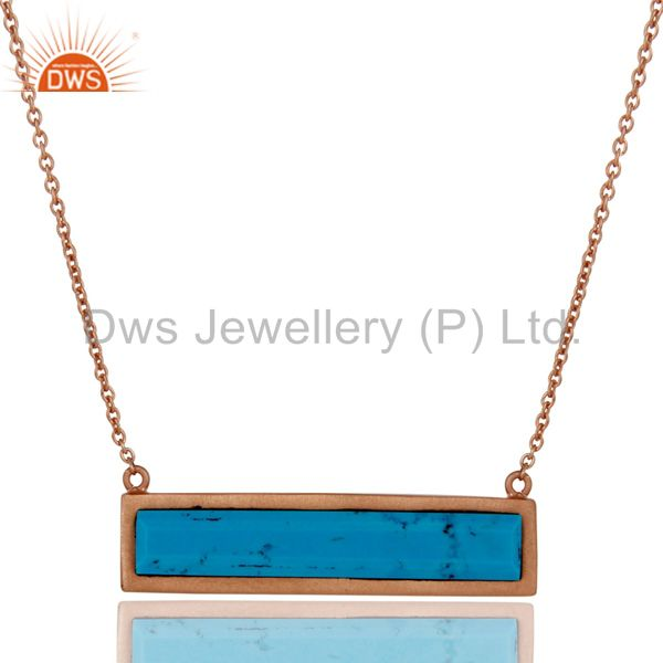 Rose Gold Plated Turquoise Sterling Silver Pendant Necklace