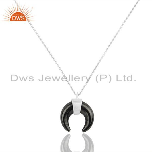 Hematite crescent moon 925 sterling silver pendant and necklace jewelry