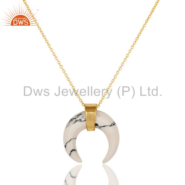 White Howlit Crescent Moon Sterling Silver 18k Gold Plated Pendant Jewelry