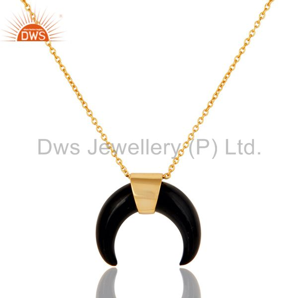 Black Onyx Crescent Moon Sterling Silver 18k Gold Plated Pendant Jewelry