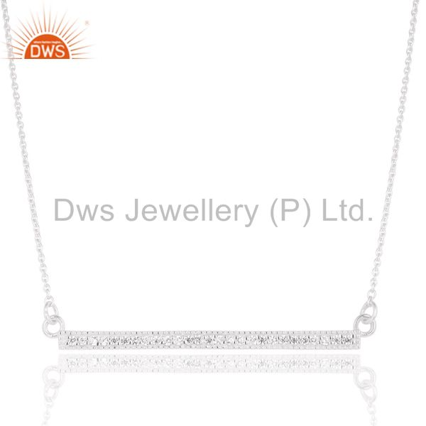 Handmade Solid 925 Sterling Silver White Zirconia Chain Pendant Necklace
