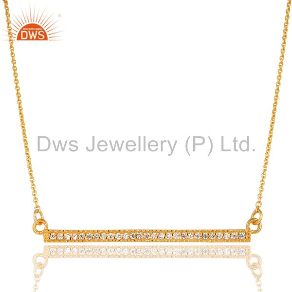 18K Yellow Gold Plated 925 Sterling Silver White Zirconia Chain Pendant Necklace