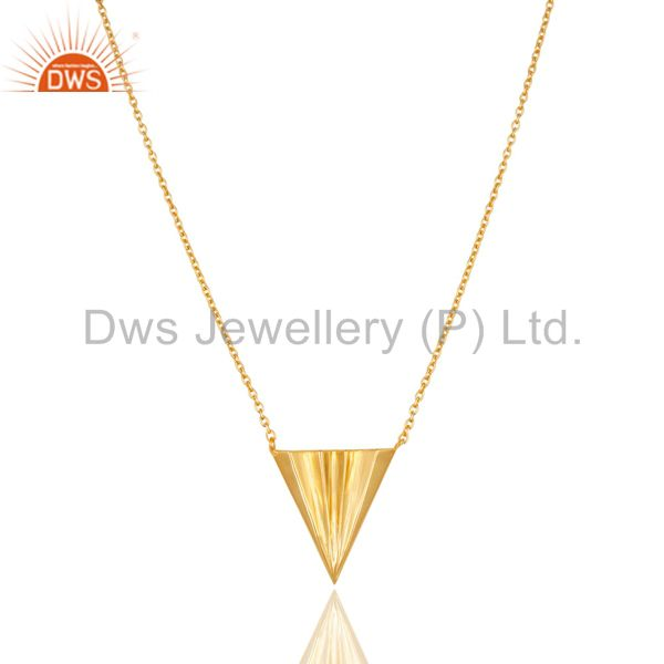 14k gold plated 925 sterling silver handmade trillion point style chain pendant