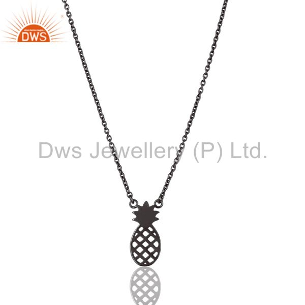 Black Oxidized 925 Sterling Silver Handmade Pineapple Style Chain Pendant