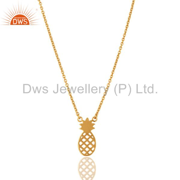 14k gold plated 925 sterling silver handmade pineapple style chain pendant