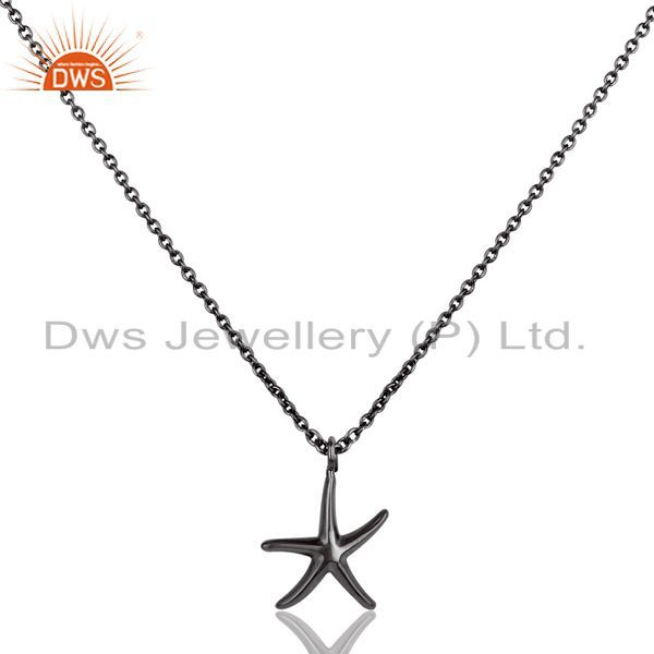Black oxidized 925 sterling silver handmade fashion star style chain pendant