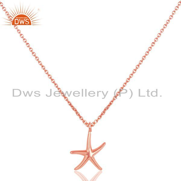 14k rose gold plated sterling silver handmade fashion star style chain pendant
