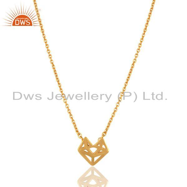 14k yellow gold plated 925 sterling silver handmade artisan chain pendant