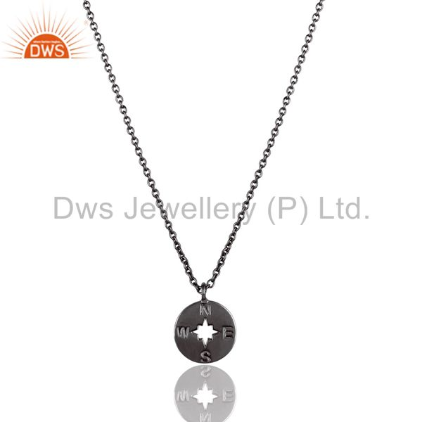 Black oxidized 925 sterling silver handmade astrology style chain pendant