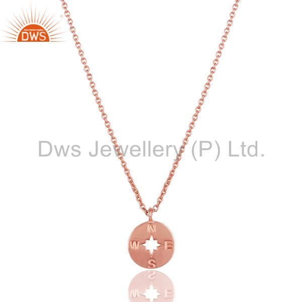 14k rose gold plated 925 sterling silver handmade astrology style chain pendant
