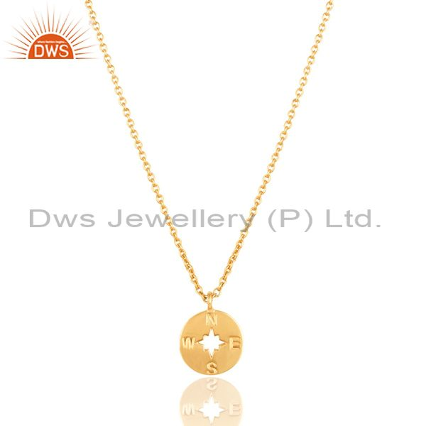 14k gold plated 925 sterling silver handmade astrology style chain pendant