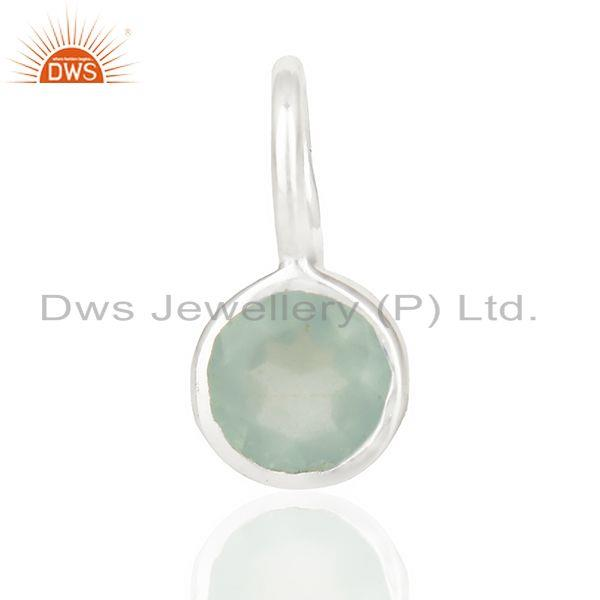 Aqua chalcedony march birthstone little charm customized silver jewelry pendent