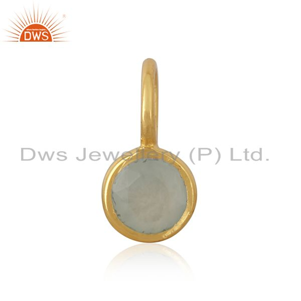 14K Yellow Gold Plated 925 Sterling Silver Dyed Chalcedony Connector Pendant