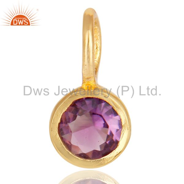 14K Yellow Gold Plated 925 Sterling Silver Amethyst Connector Pendant Jewelry