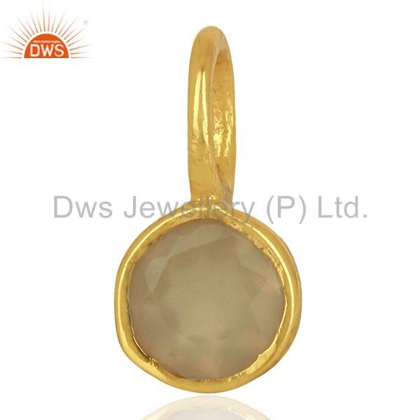 Gray Chalcedony Sterling Silver 14K Yellow Gold Plated Connector Pendant Jewelry