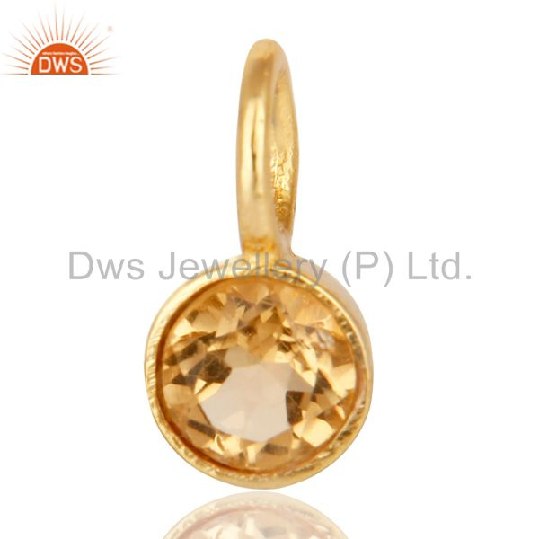 14k yellow gold plated 925 sterling silver citrine connector pendant jewelry