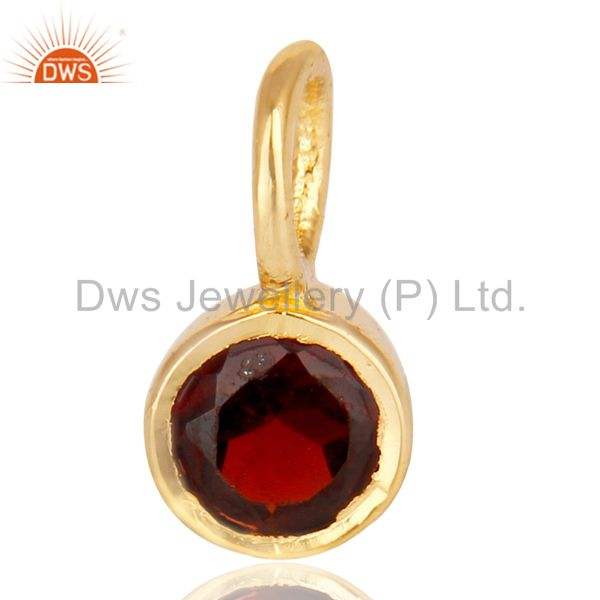 14K Yellow Gold Plated 925 Sterling Silver Garnet Connector Pendant Jewelry