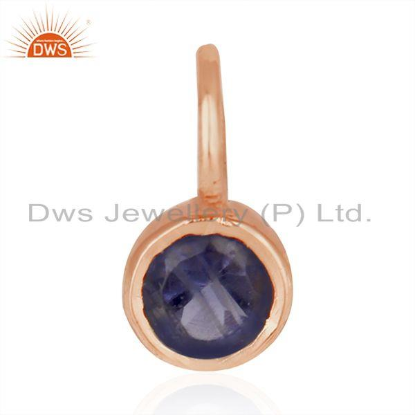 Natural Iolite Gemstone Rose Gold Plated 925 Silver Single Pendant Manufacturer