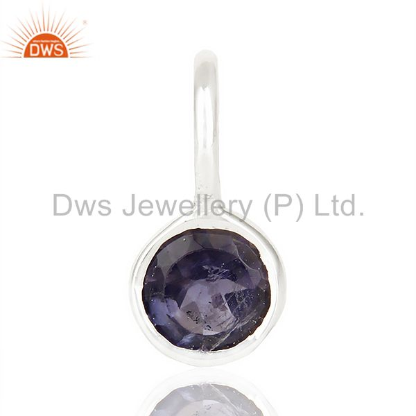 Iolite September Birthstone Little Charm Customized Silver Jewelry Pendent