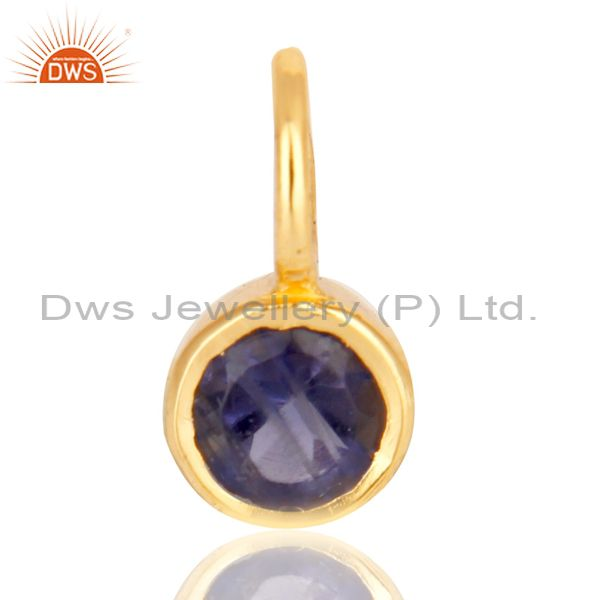 14K Yellow Gold Plated 925 Sterling Silver Iolite Connector Pendant Jewelry