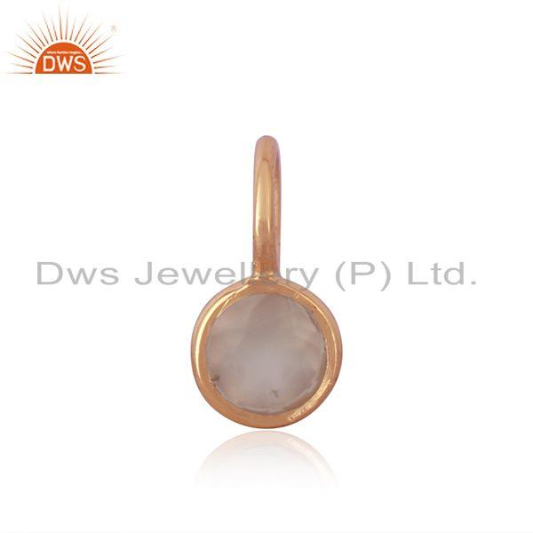 Chalcedony Gemstone Rose Gold Plated 925 Sterling Silver Pendant