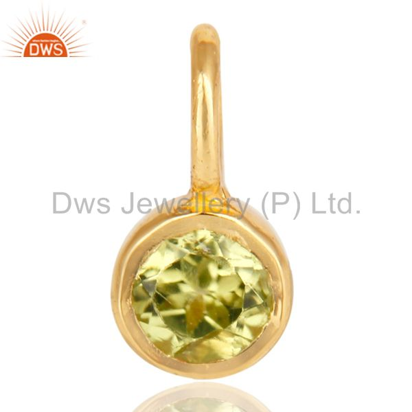 14K Yellow Gold Plated 925 Sterling Silver Peridot Connector Pendant Jewelry