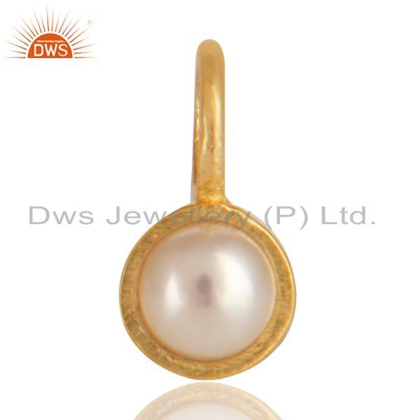 14K Yellow Gold Plated 925 Sterling Silver Pearl Connector Pendant Jewelry