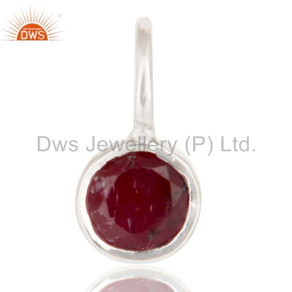 Sterling Silver Ruby small round bezel set Pendant Necklace
